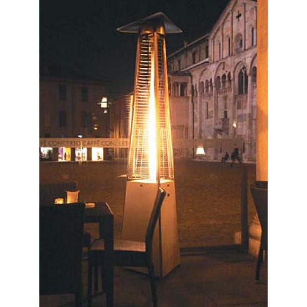 ... Premium Residential Pyramid Glass Tube Flame Patio Heater   Hammered  Bronze | By Buytikitorches