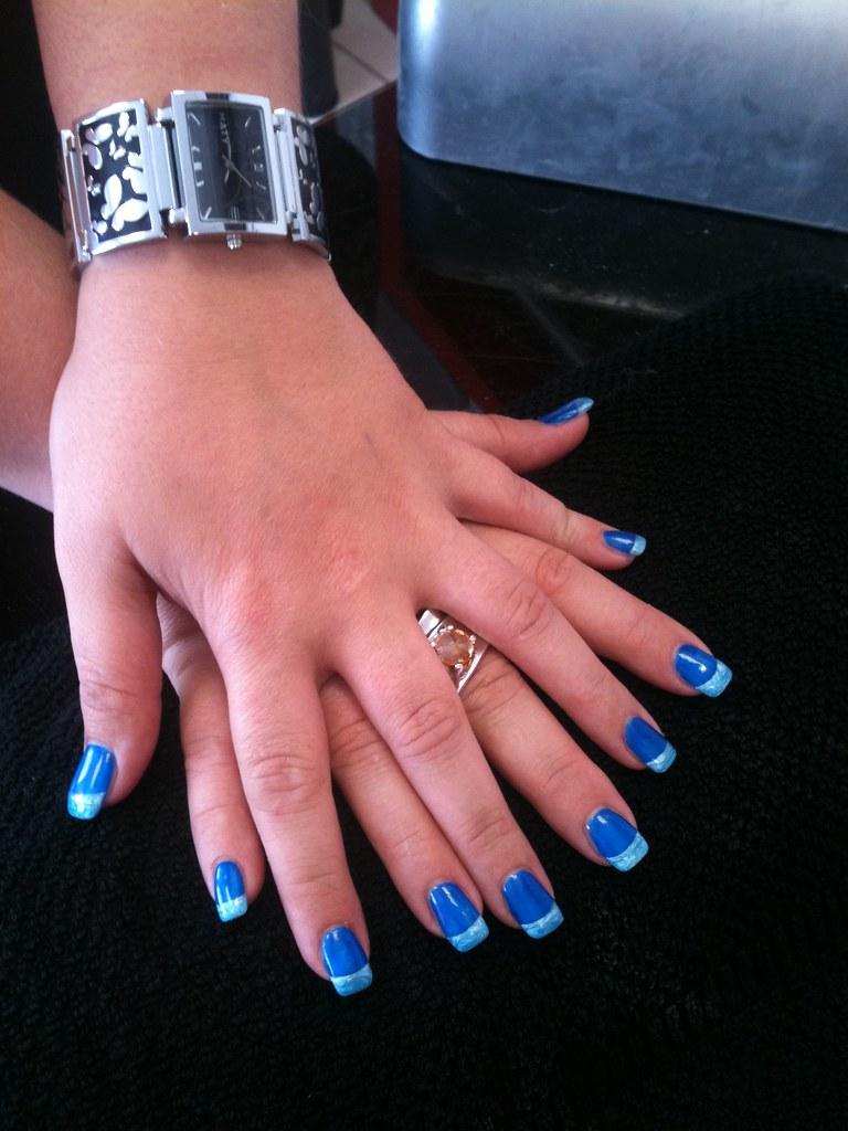 29 Ongle Gel Bleu Decor Bleu Azur Nail Art French Manucure