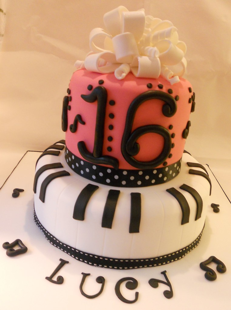 Pleasing Sweet 16 Birthday Cake Piano Musical Notes Ribbon Bow Pink Flickr Funny Birthday Cards Online Inifodamsfinfo