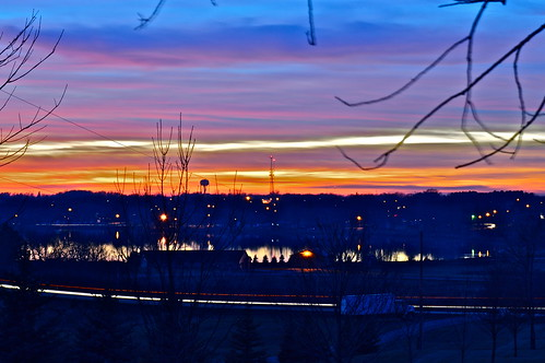 sunset lake color tower water minnesota albany