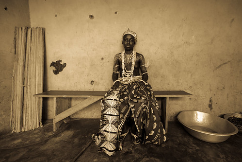 Young girls from the Krobo tribal group wear traditional b