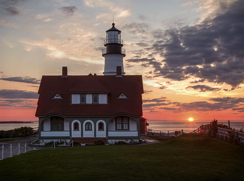 sunrise portland ocean atlantic light hdr maine