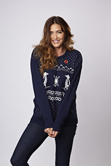 Lisa Snowdon models a Christmas jumper for Save the Children?s 2012 Christmas Jumper Day.