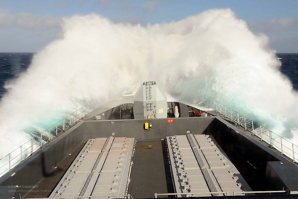 Royal Navy Ship in Rough Weather