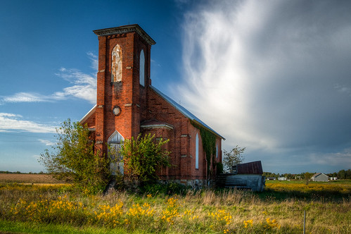 sky cloud brick abandoned church overgrown field us unitedstates michigan goldenrod forgotten unioncity batavia hdr goldenhour 1873 photomatix branchcounty