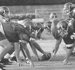 Football practice on Merritt Field in early September 1995