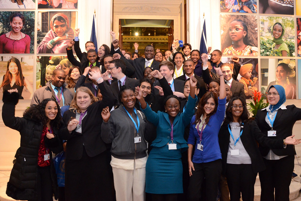 Young people from the 5th Commonwealth Youth Parliament at the Commonwealth Secretariat