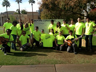ASU Lives Flashmob - Team in Green poses by their sign | by Moriartys