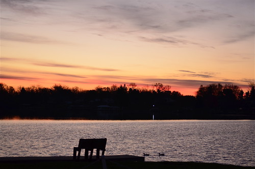 trees sun water clouds sunrise bench dock nikon ducks oh shawneelake jamestown geotaggedohio nikond5100 kkfrombb