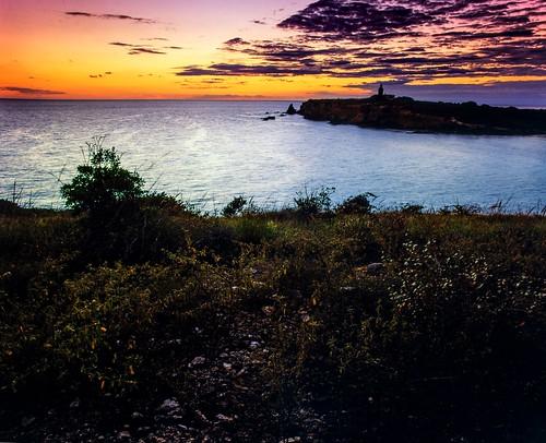 vintage sunset slidefilm mamiyarb67pros mamiyasekorc50mmf45 velvia50 dusk caborojo puertorico mediumformat 6x7 e6 beach color analog film