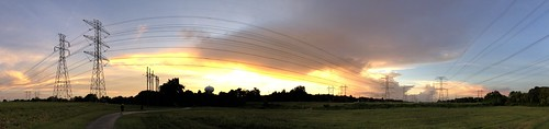 oystercreekpark panorama powerlines sunset