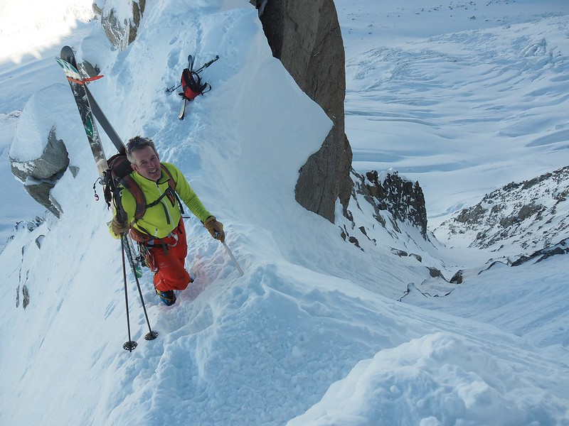 Chevallier couloir entry. Skier: Jim Savege