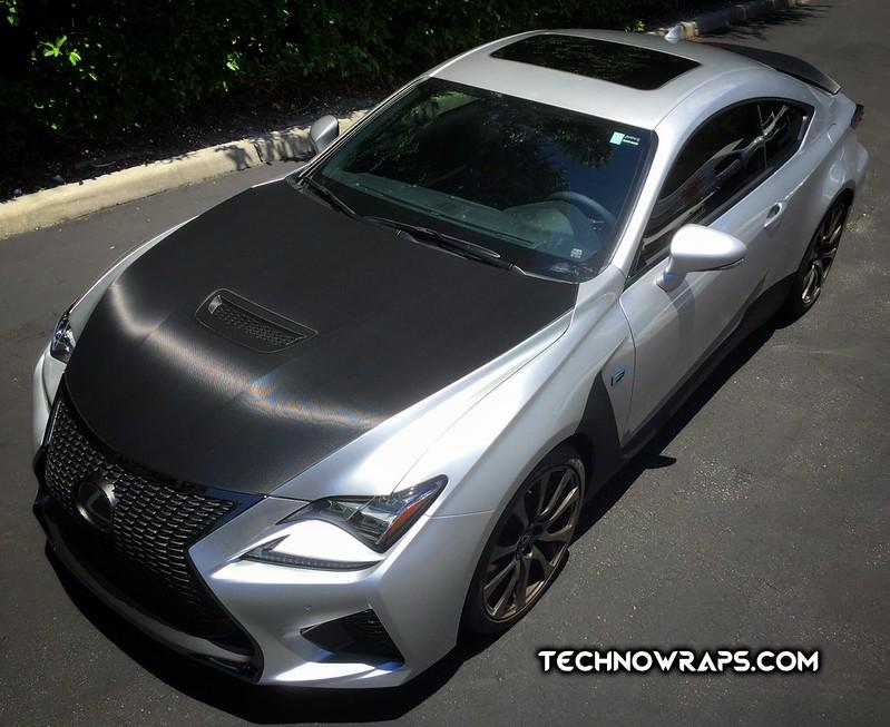 Lexus RC F black carbon fiber hood accent wrap