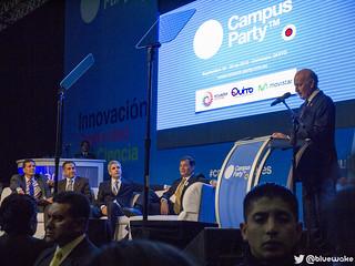 Jaime Guerrero, Augusto Barrera, Juan Goulu, Rafael Correa y Rafael Roldán en la inauguración de #cpquito2