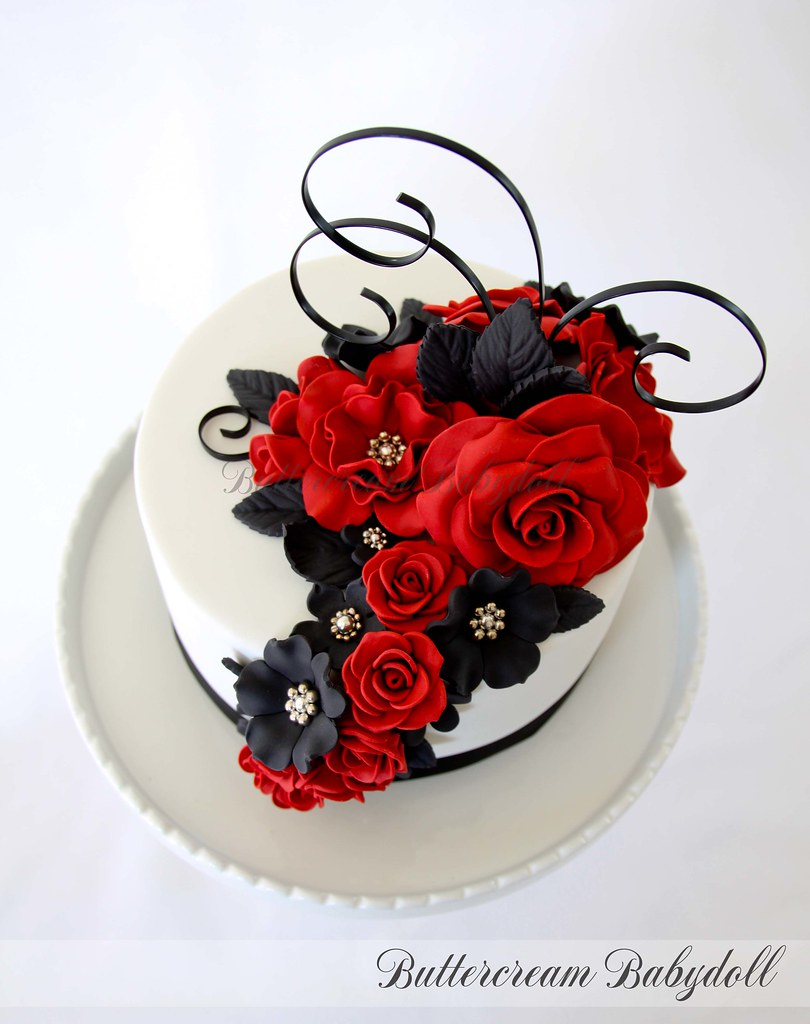 Red Black White Wedding Cake Top Detail Of A Recent Wed Flickr