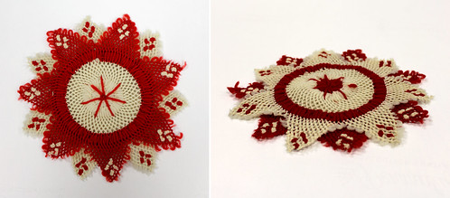 Red and white doily, made by Laura Bridgman | by Perkins School for the Blind Archive