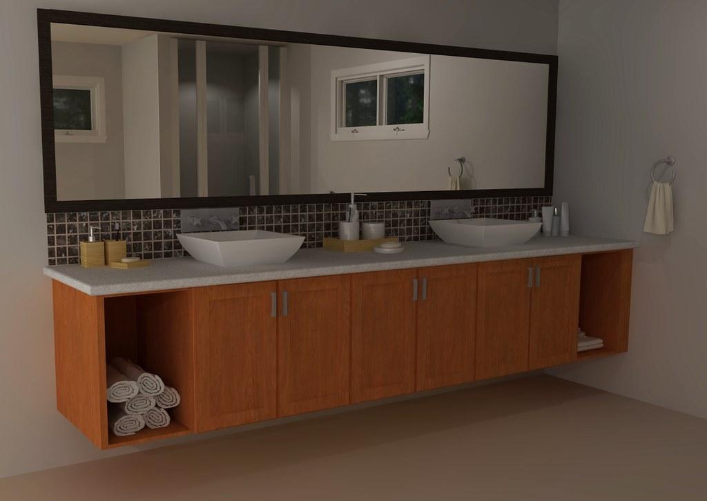 IKEA custom bathroom vanity | IKEA AKURUM wall cabinets were ...