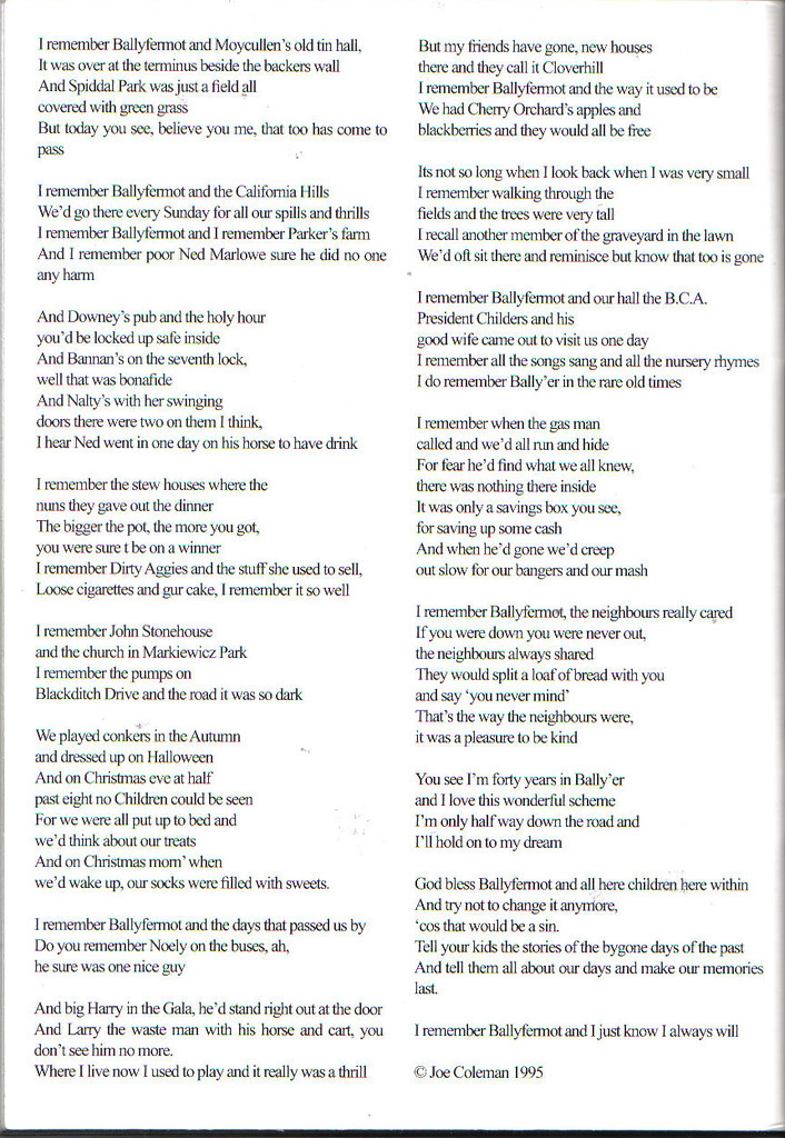 Memories of Ballyfermot Joe Coleman Lovely poem Part 2 | Flickr