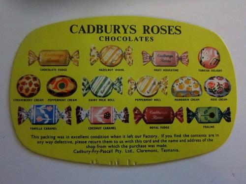 Vintage Cadburys Roses Chocolates card