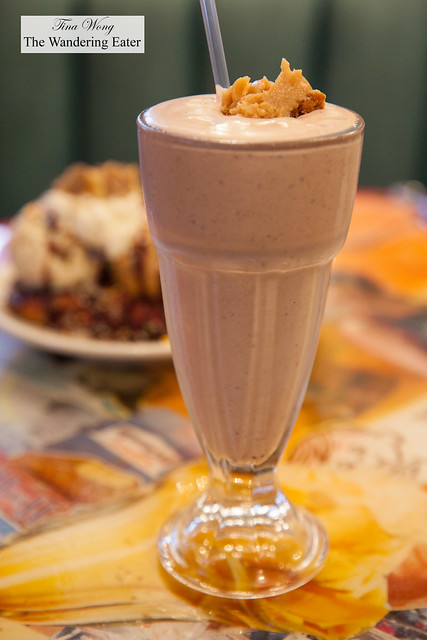 Pie Shake- Peanut Butter Chocolate Pie blended with Strawberries & Cream ice cream
