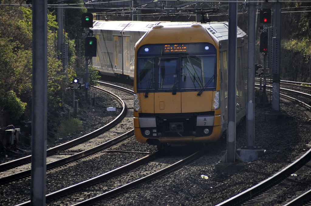 Up Waratah Set - A7 approaches the Livingstone Road Bridge and Marrickville by John Cowper