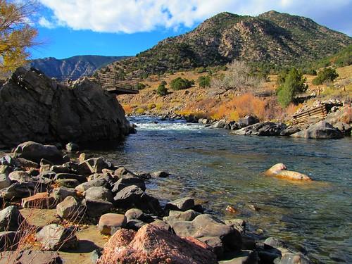 sky mountains clouds rural river colorado canyon rapids arkansasriver bigsheepcanyon