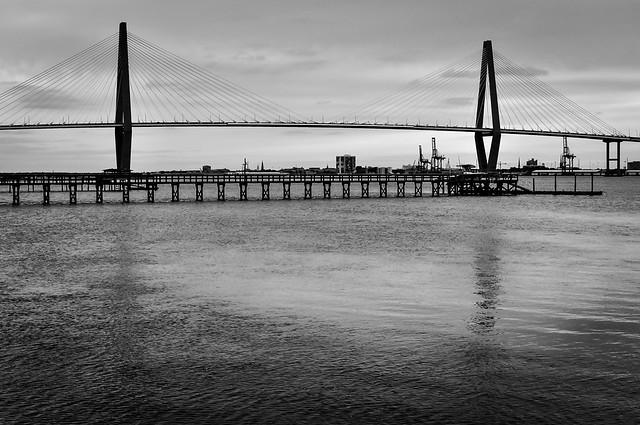 Ravenel Bridge in B&W