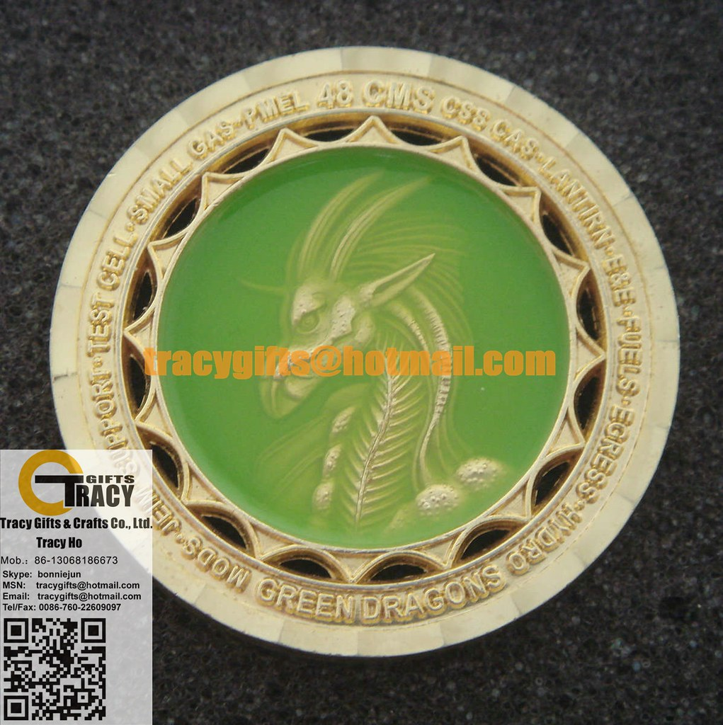 48 CMS GREEN DRAGONS CUT-OUT GOLD COIN CUSTOM MILITARY COI
