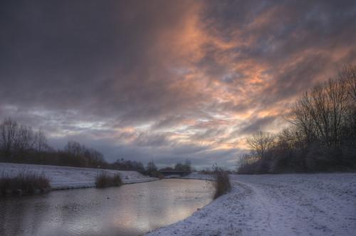 schnee winter sky white snow clouds sunrise landscape himmel landschaft sonnenaufgang hdr vechte nordhorn photomatix grafschaftbentheim