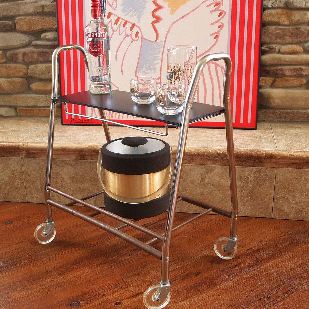 50s Mid Century Bar Cart Retro Vintage Rolling Metal Cart Flickr