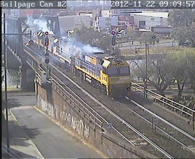 NR36-NR87-NR90-NR69 light engine from LPC to SMC, Spotswood 22-11-2012 by Railpage Bunbury Street