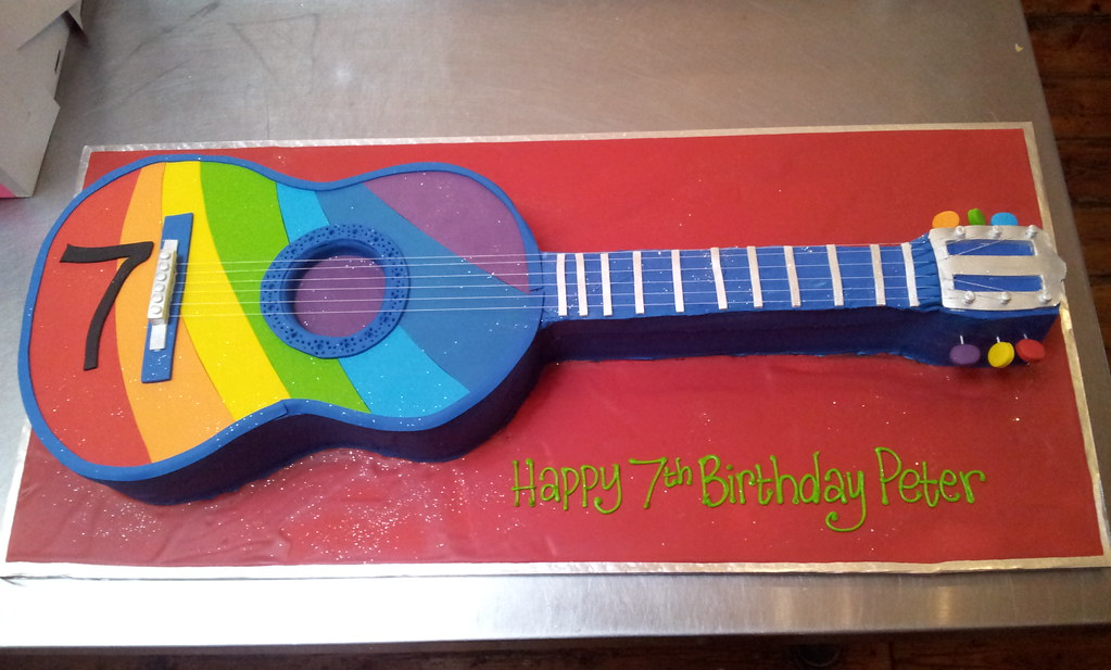 Excellent 3D Rainbow Acoustic Guitar Shaped Cake Charlys Bakery Flickr Funny Birthday Cards Online Barepcheapnameinfo