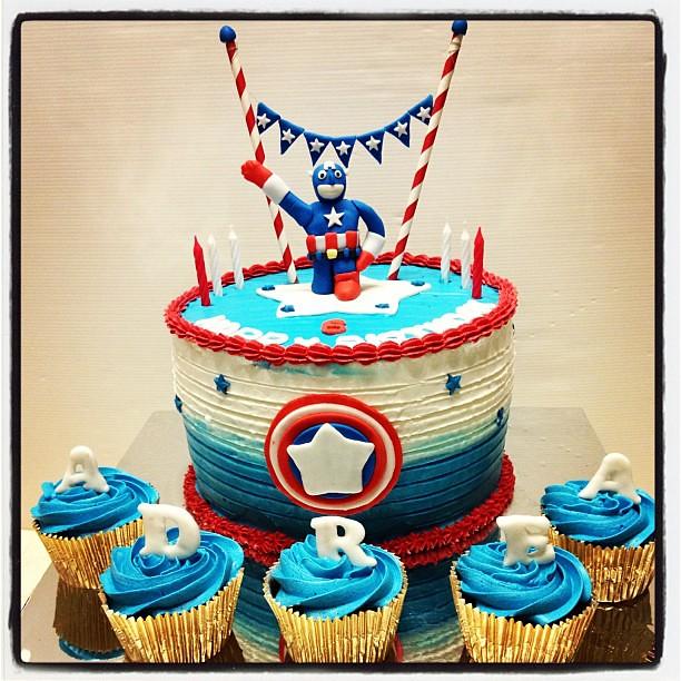 Adrea 6th Birthday Cake Miadrea Captainamerica Buttercream Blue Boy