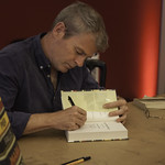 Mark Haddon Book Signing   The author of The Curious Incident of the Dog in the Night-Time signs copies of his new book of short stories © Robin Mair