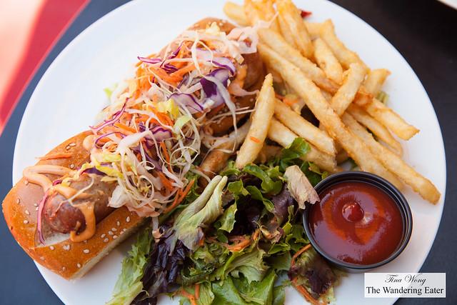 The Big Dog - brioche roll, pork sausage, sriracha mayo, carrots