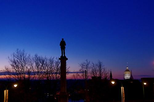 blue trees sky sculpture art silhouette statue museum sunrise soldier dawn war civil greensburg courthouse westmoreland