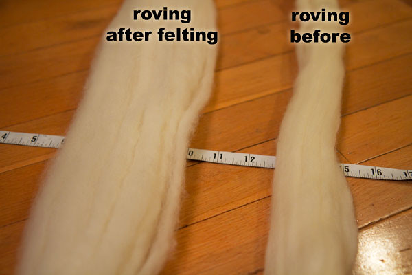 Roving Before and After Felting