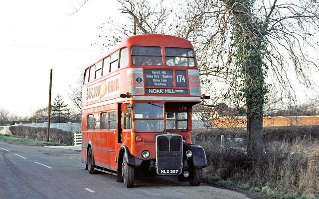 London Transport: RT490 (HLX307) from North Street Garage at Noak Hill (Pentowan) on Route 174