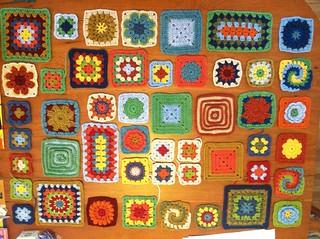 granny square sampler afghan layout