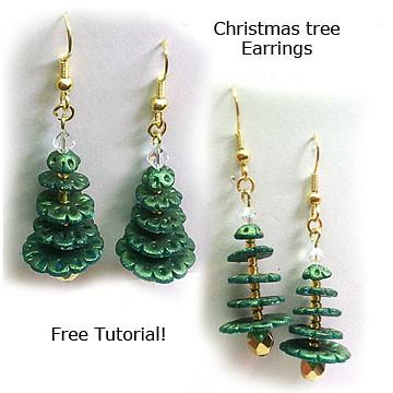 Polymer Clay Christmas Earrings.Polymer Clay Christmas Tree Earrings Polymer Clay Christma