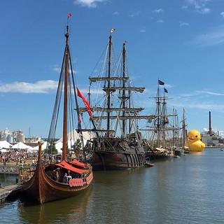 Historic ship, ship, ship, ship giant duck. Tall Ship Festival, Green Bay, Wis.   by alykat