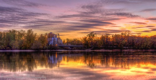 bridge sunset reflection fall mill minnesota clouds river mississippiriver bang stcloud saukrapids frozenimagephotography