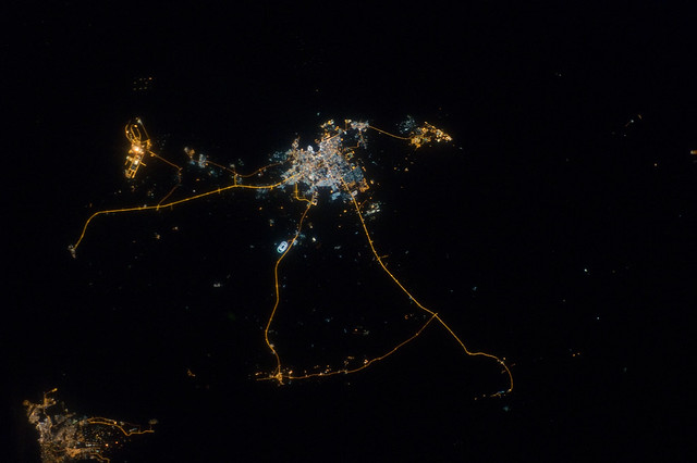 Qatar at Night (NASA, International Space Station, 10/13/12)