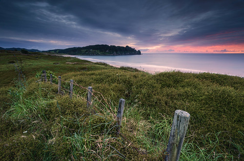 longexposure sea newzealand seascape grass sunrise fence nikon wideangle nopeople nz northisland coromandel eastcoast hotwaterbeach tranquilscene colourimage leefilters 1024mm d7000 lee06gndhard lee12gndsoft