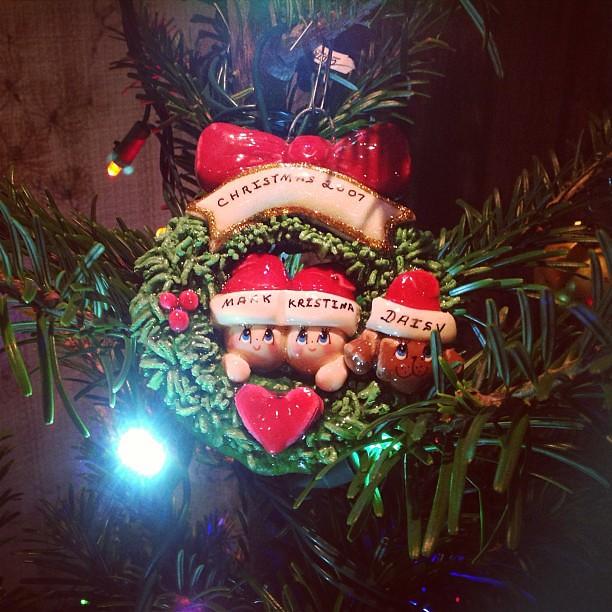 New tree, vintage ornaments. Joy to the World! #fb