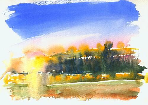 sunset en watercolor painting transparent plene
