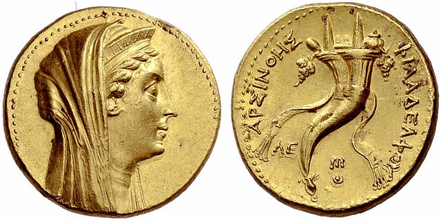 An Excessively Rare and Magnificent Greek Gold Oktadrachm of the Ptolemaic King Ptolemy II Philadelphos, in the Name of Arsinoe II, a Spendid High Relief Portrait
