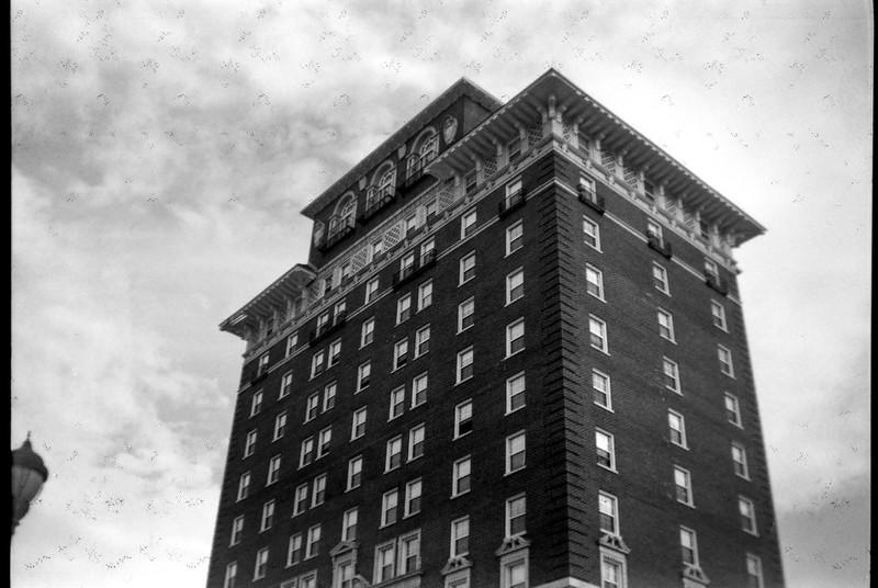 Battery Park Apartments, downtown Asheville, North Carolina, Ansco Shur Shot, Arista.Edu 200, Kodak Professional TMAX developer, 8.4.18