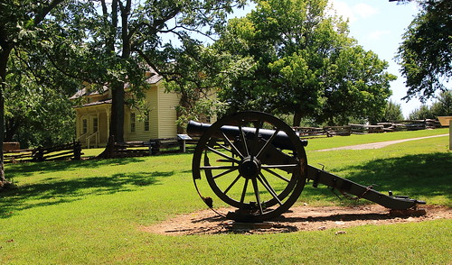 Civil War Cannon with Borden House in Background, Prairie Grove Battlefield State Park - Washington County, Arkansas