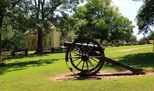 Civil War Cannon with Borden House in Background, Prairie Grove Battlefield State Park - Washington County, Arkansas